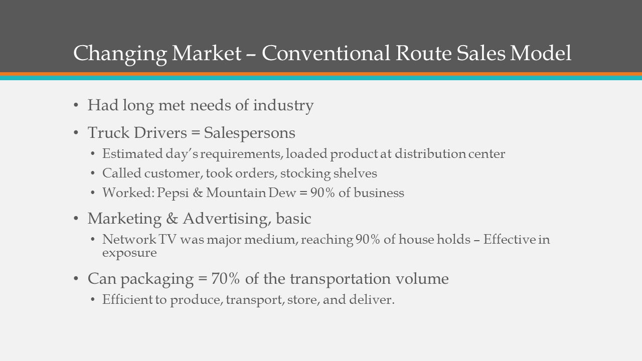 Changing Market – Conventional Route Sales Model
