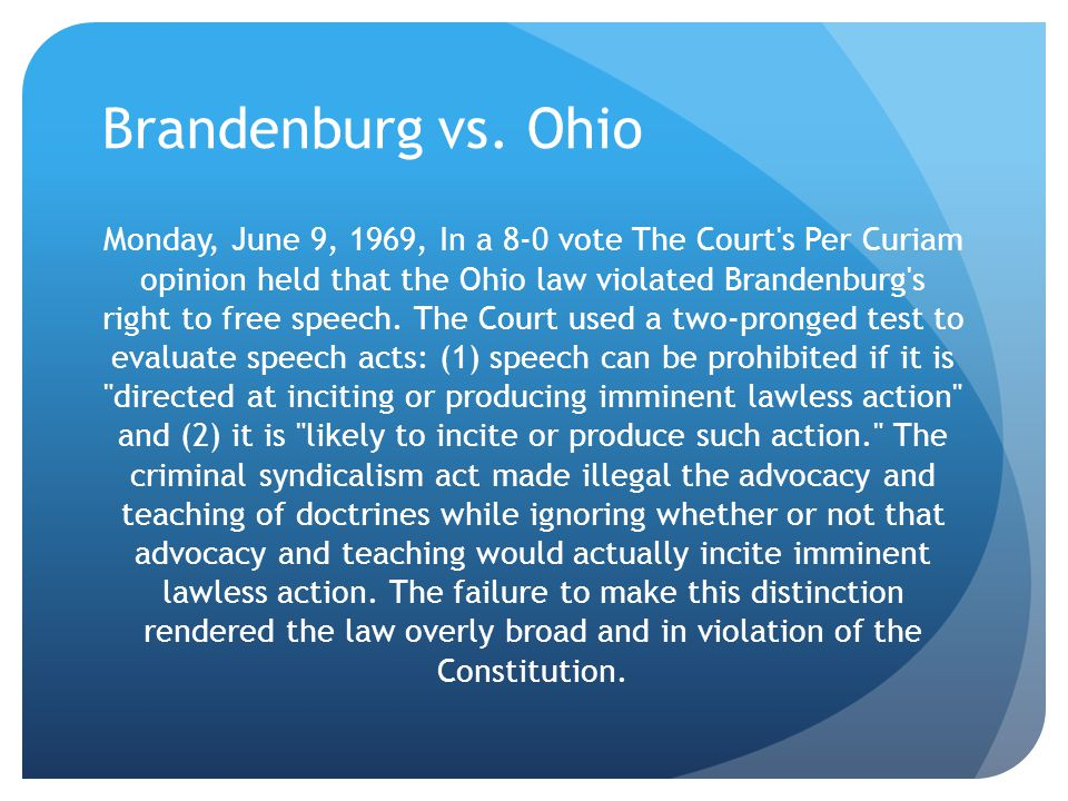 Brandenburg vs. Ohio