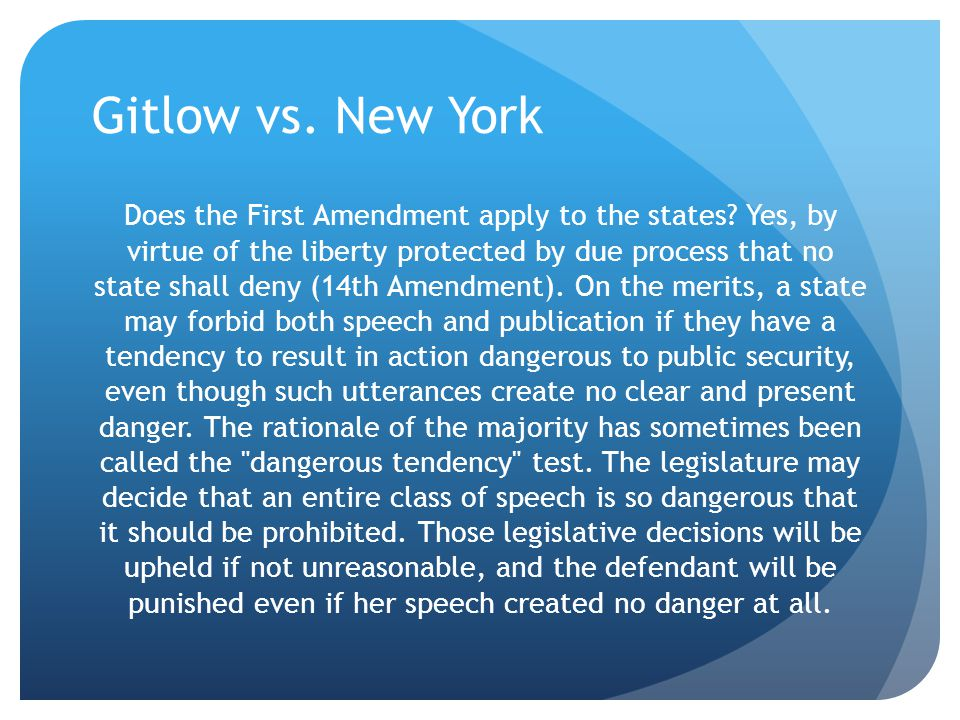 Gitlow vs. New York