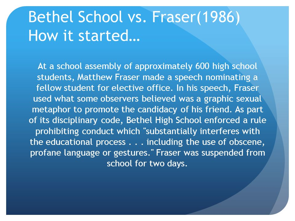 Bethel School vs. Fraser(1986) How it started…