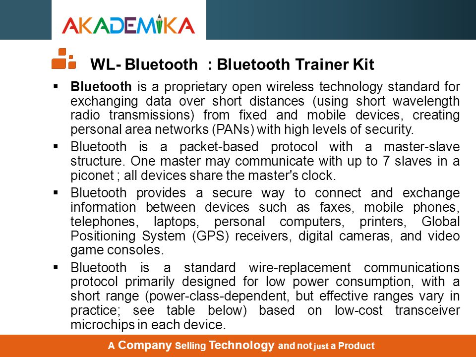 WL- Bluetooth : Bluetooth Trainer Kit