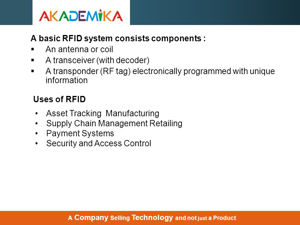 A basic RFID system consists components : An antenna or coil