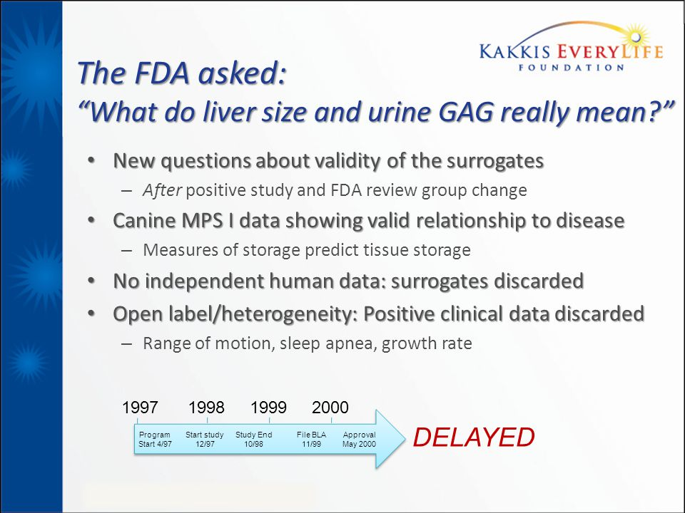 The FDA asked: What do liver size and urine GAG really mean