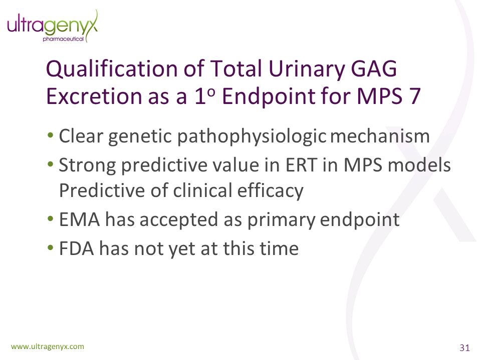 Qualification of Total Urinary GAG Excretion as a 1o Endpoint for MPS 7