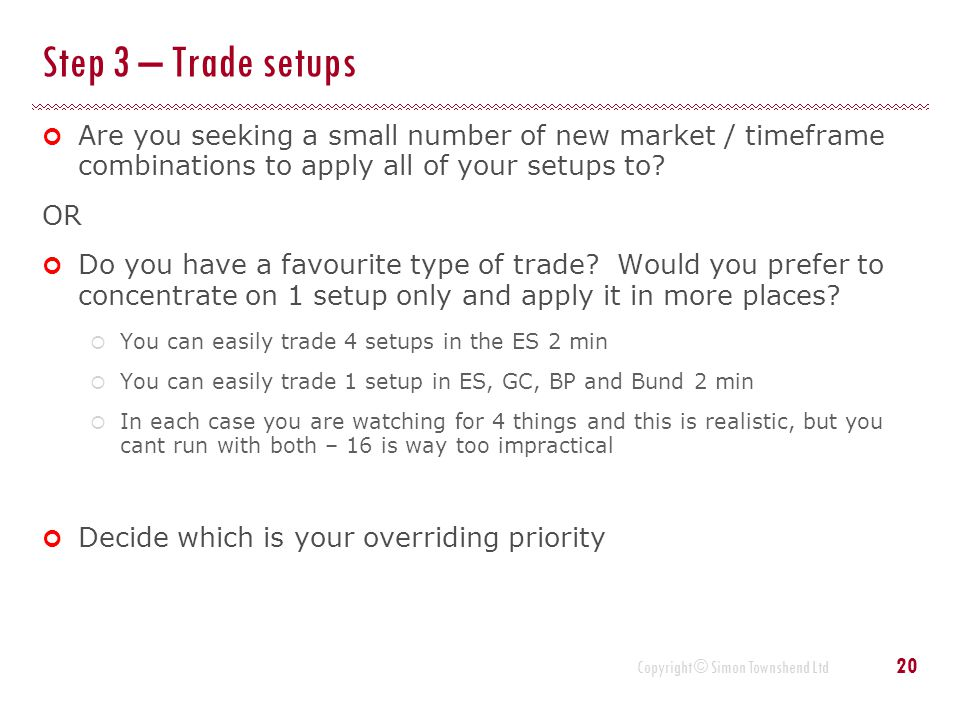 Step 3 – Trade setups Are you seeking a small number of new market / timeframe combinations to apply all of your setups to