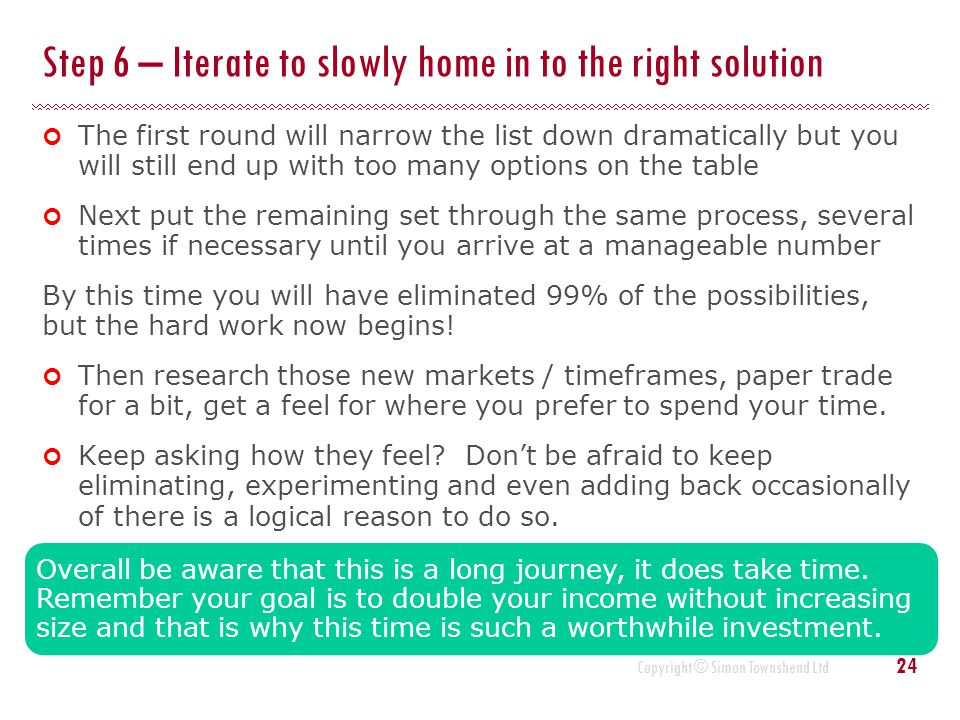 Step 6 – Iterate to slowly home in to the right solution