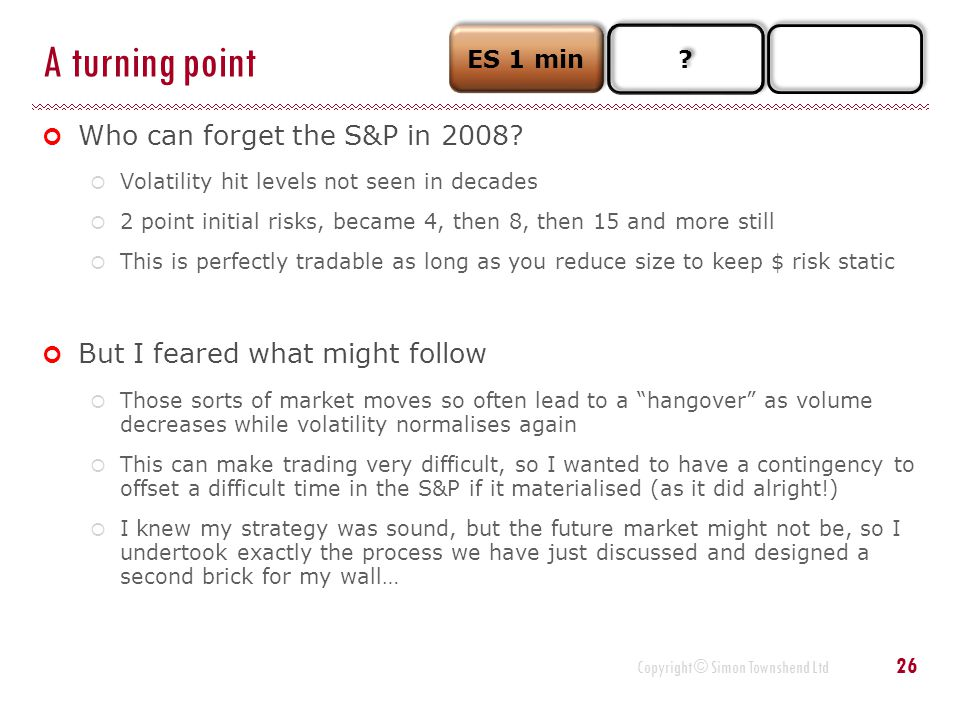 A turning point Who can forget the S&P in 2008