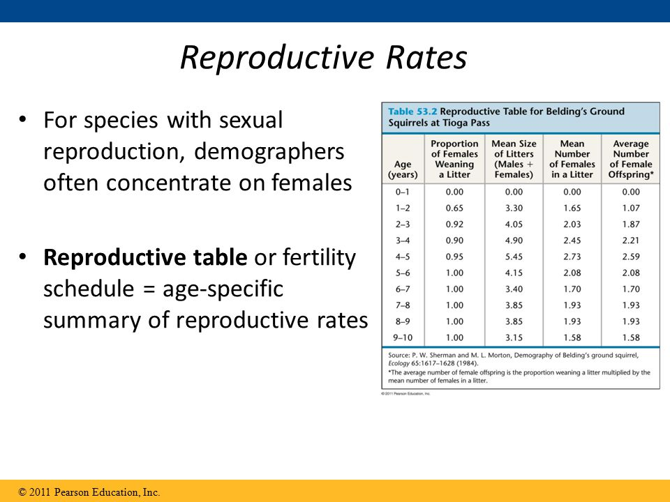 Reproductive Rates For species with sexual reproduction, demographers often concentrate on females.