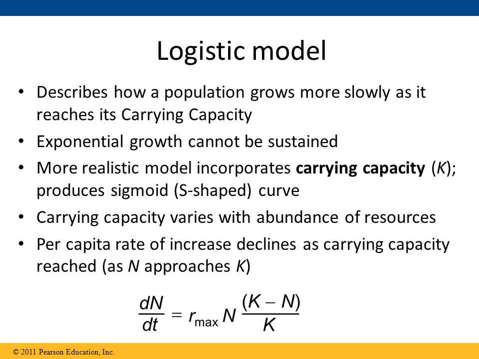 Logistic model Describes how a population grows more slowly as it reaches its Carrying Capacity. Exponential growth cannot be sustained.