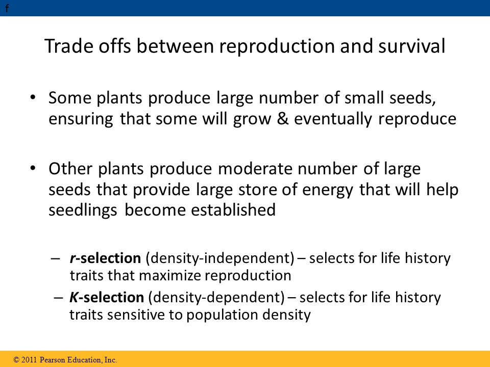 Trade offs between reproduction and survival
