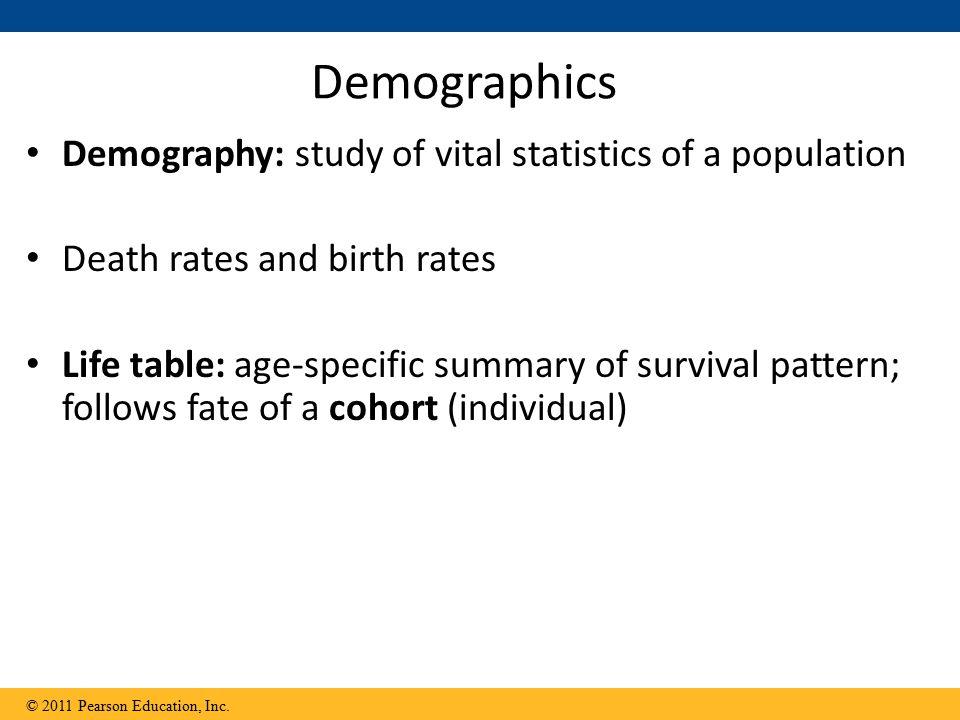 Demographics Demography: study of vital statistics of a population
