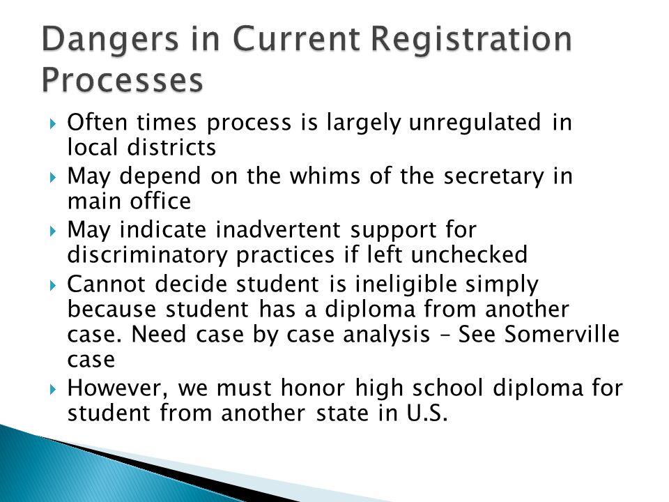 Dangers in Current Registration Processes