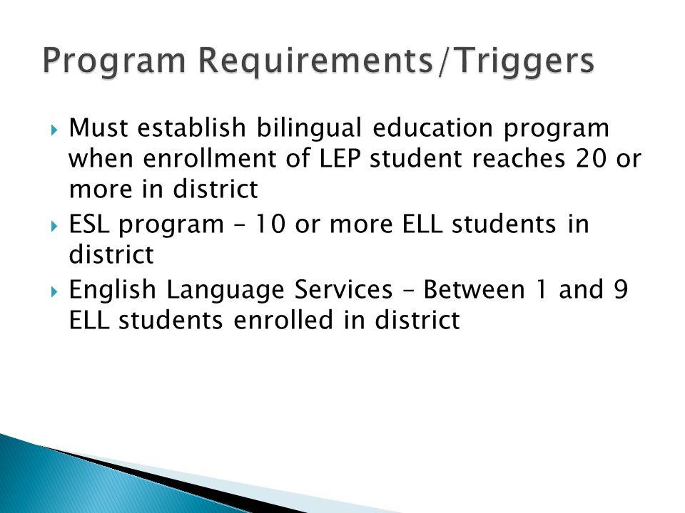 Program Requirements/Triggers
