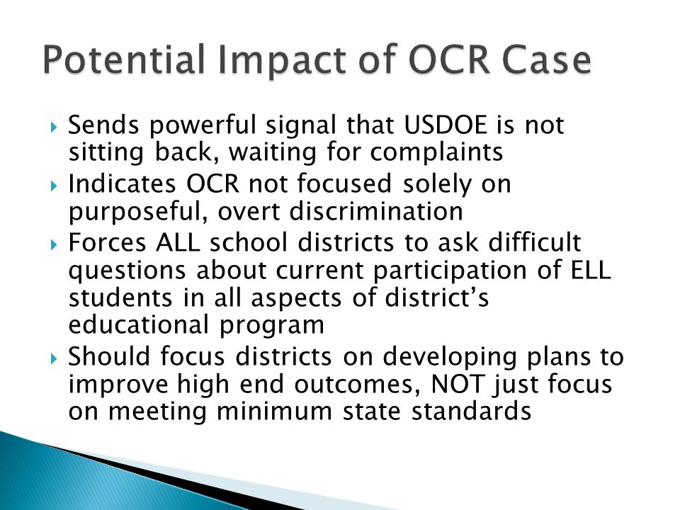 Potential Impact of OCR Case