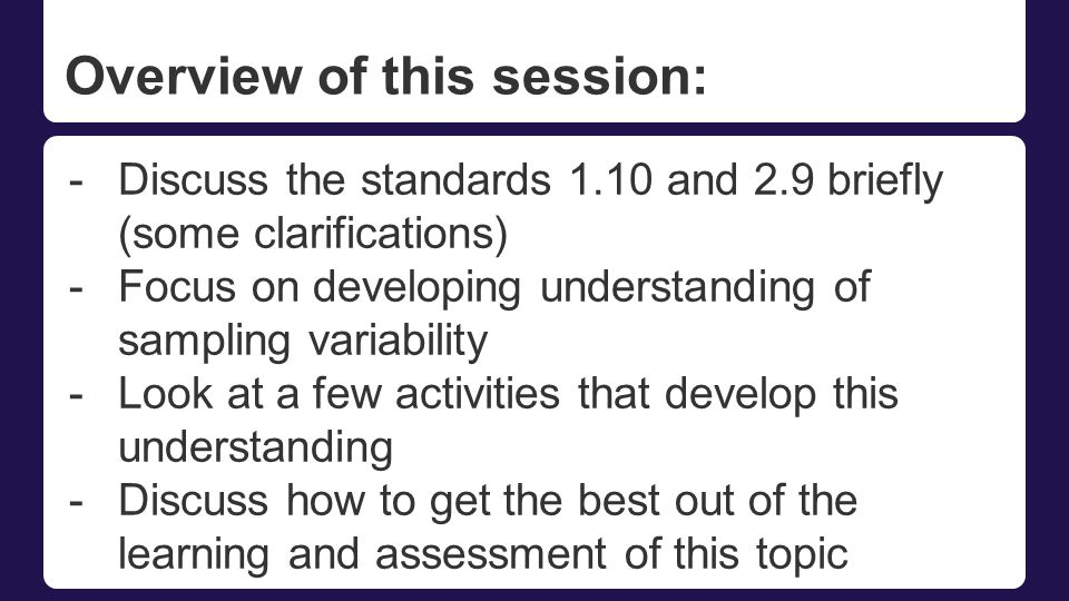Overview of this session: