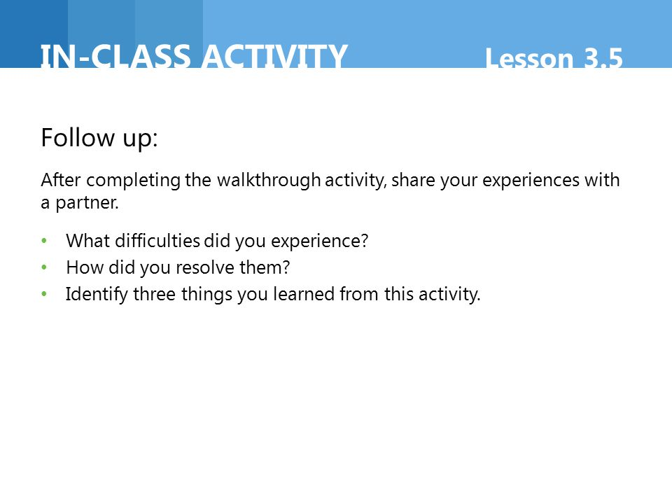 In-class activity Lesson 3.5