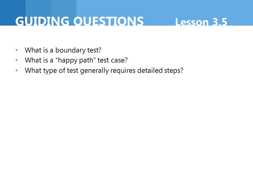 GUIDING questions Lesson 3.5