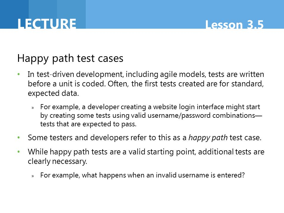 Lecture Lesson 3.5 Happy path test cases