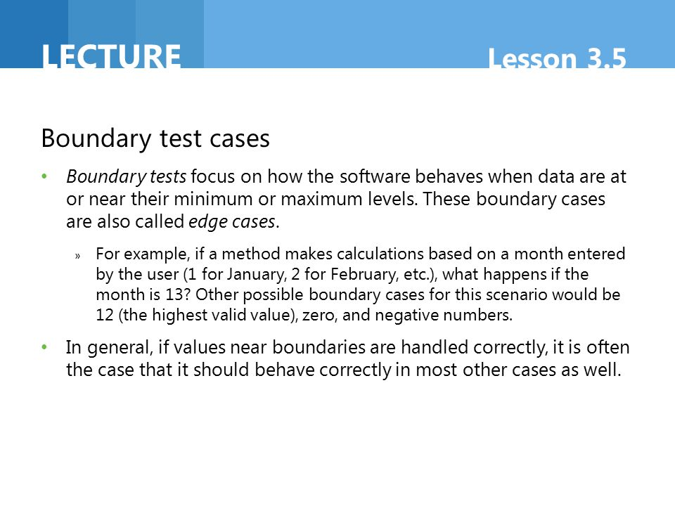 Lecture Lesson 3.5 Boundary test cases