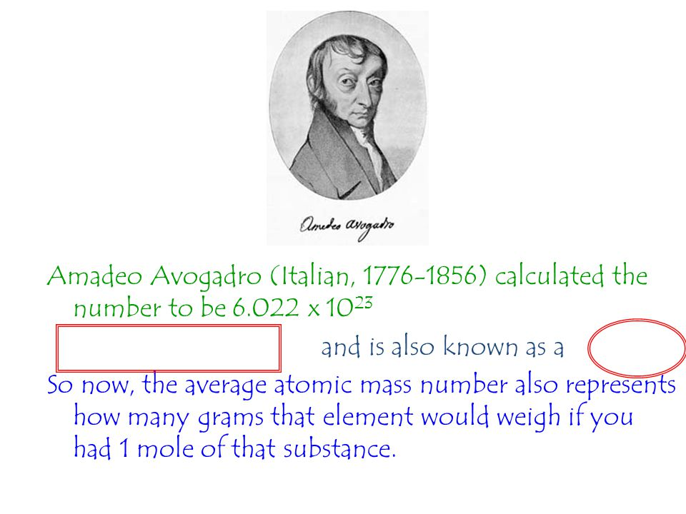 Amadeo Avogadro (Italian, 1776-1856) calculated the number to be 6