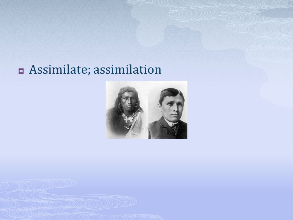 Assimilate; assimilation