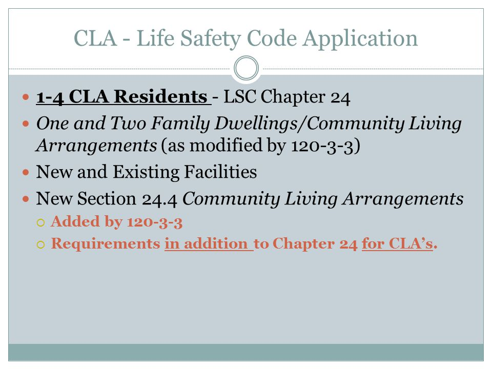CLA - Life Safety Code Application