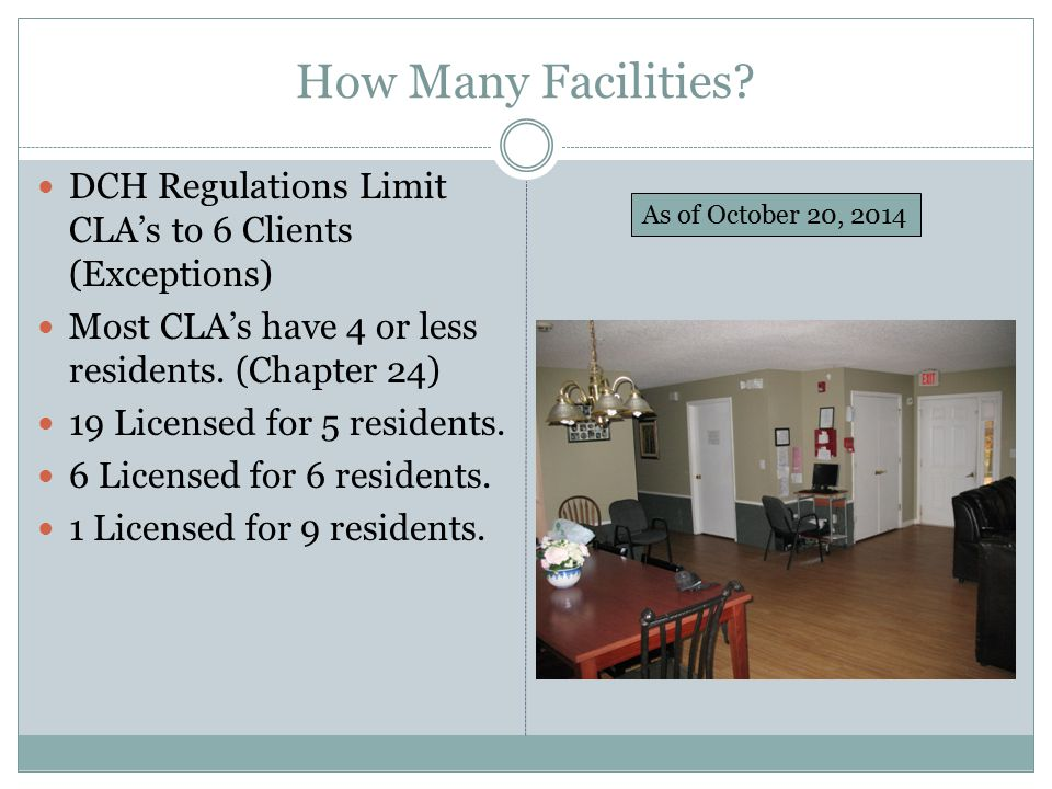 How Many Facilities DCH Regulations Limit CLA's to 6 Clients (Exceptions) Most CLA's have 4 or less residents. (Chapter 24)