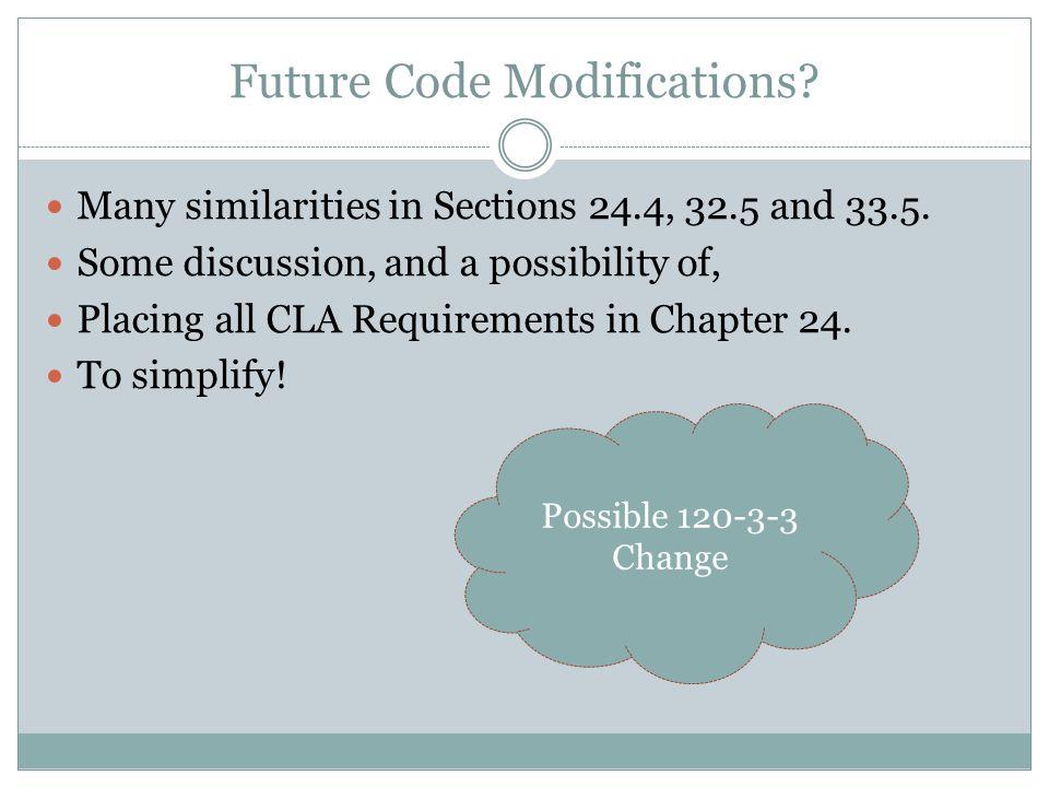 Future Code Modifications