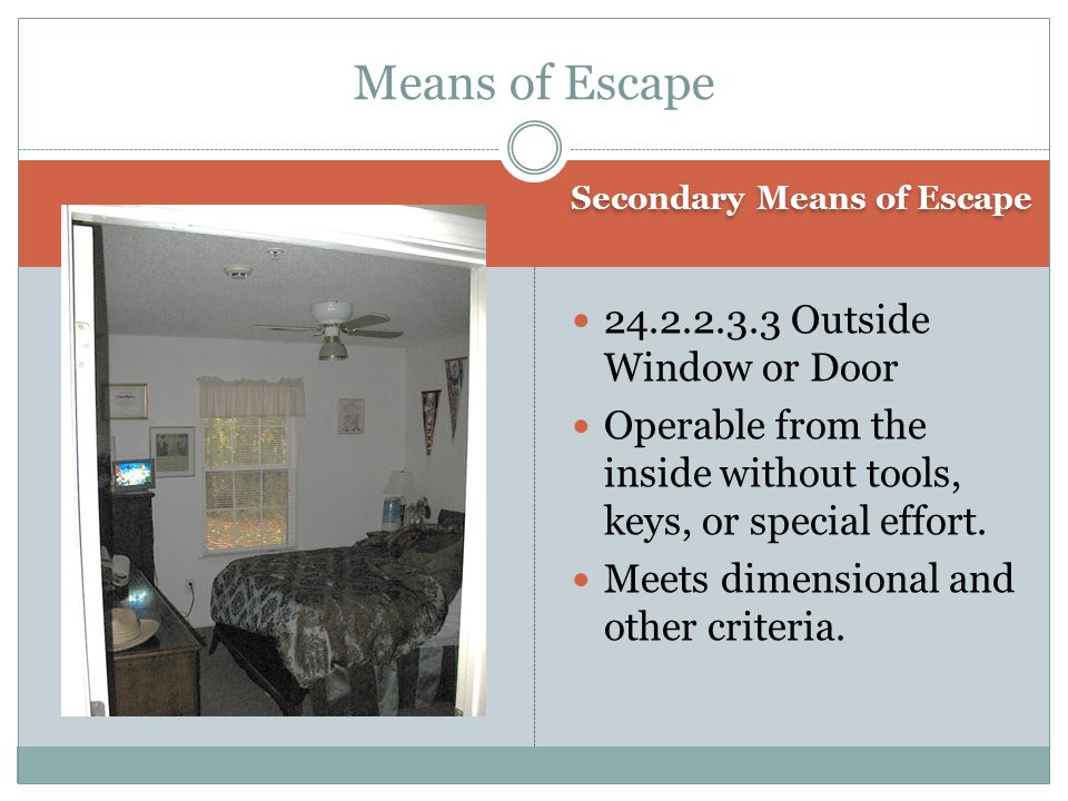 Means of Escape 24.2.2.3.3 Outside Window or Door