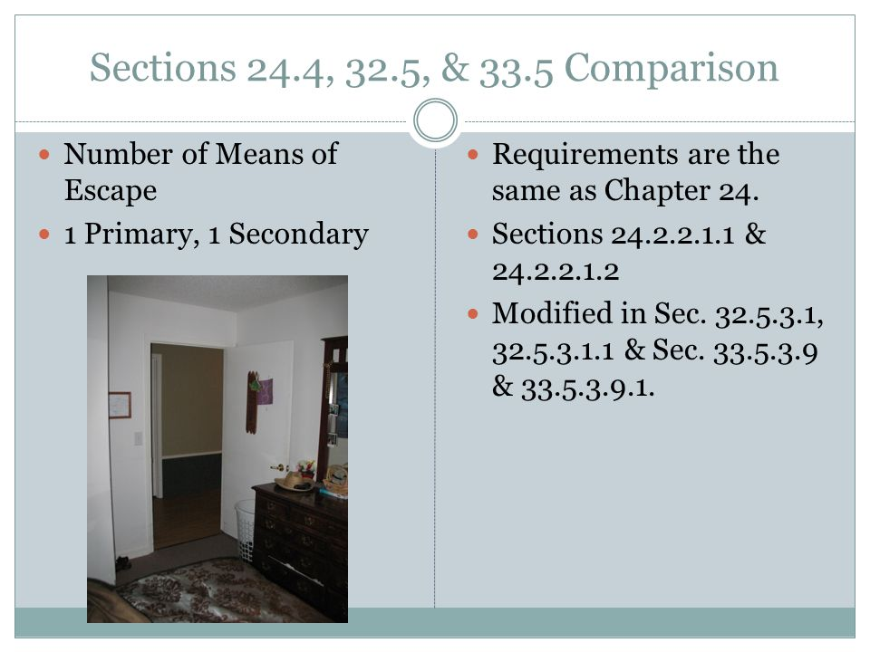 Sections 24.4, 32.5, & 33.5 Comparison Number of Means of Escape