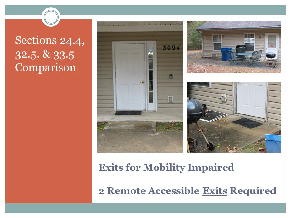 Exits for Mobility Impaired 2 Remote Accessible Exits Required