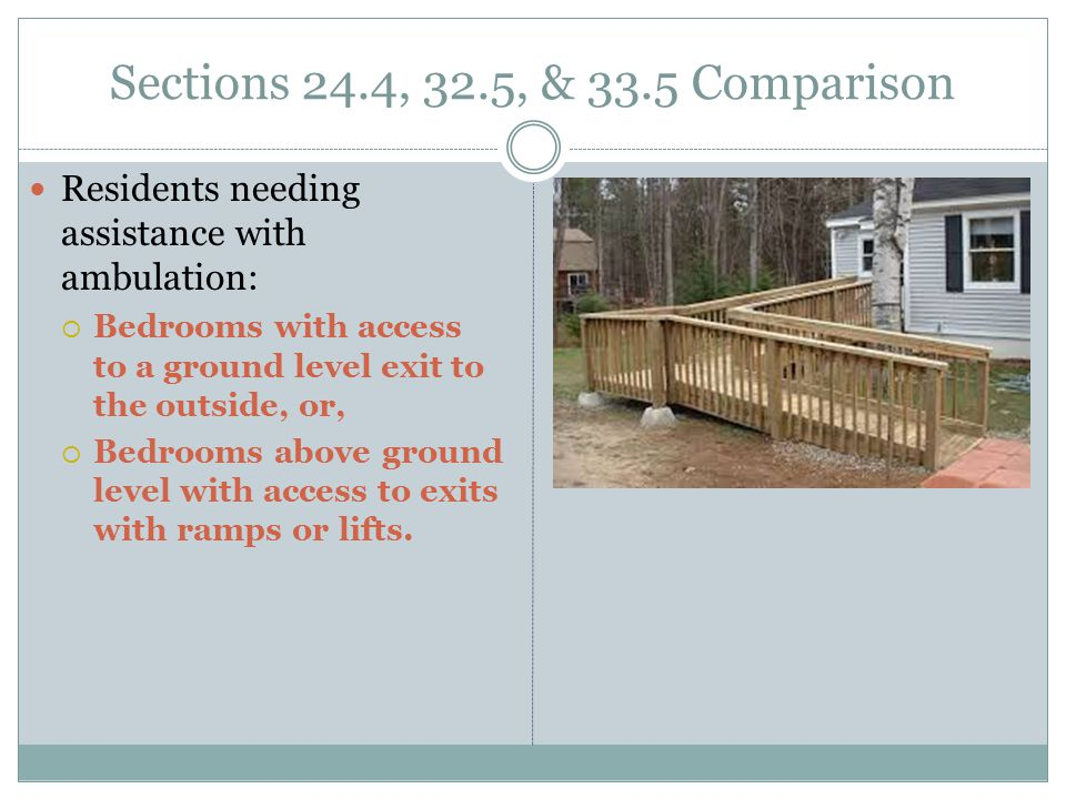 Sections 24.4, 32.5, & 33.5 Comparison Residents needing assistance with ambulation: Bedrooms with access to a ground level exit to the outside, or,