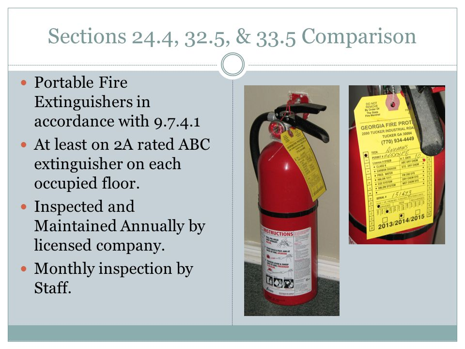 Sections 24.4, 32.5, & 33.5 Comparison Portable Fire Extinguishers in accordance with 9.7.4.1.