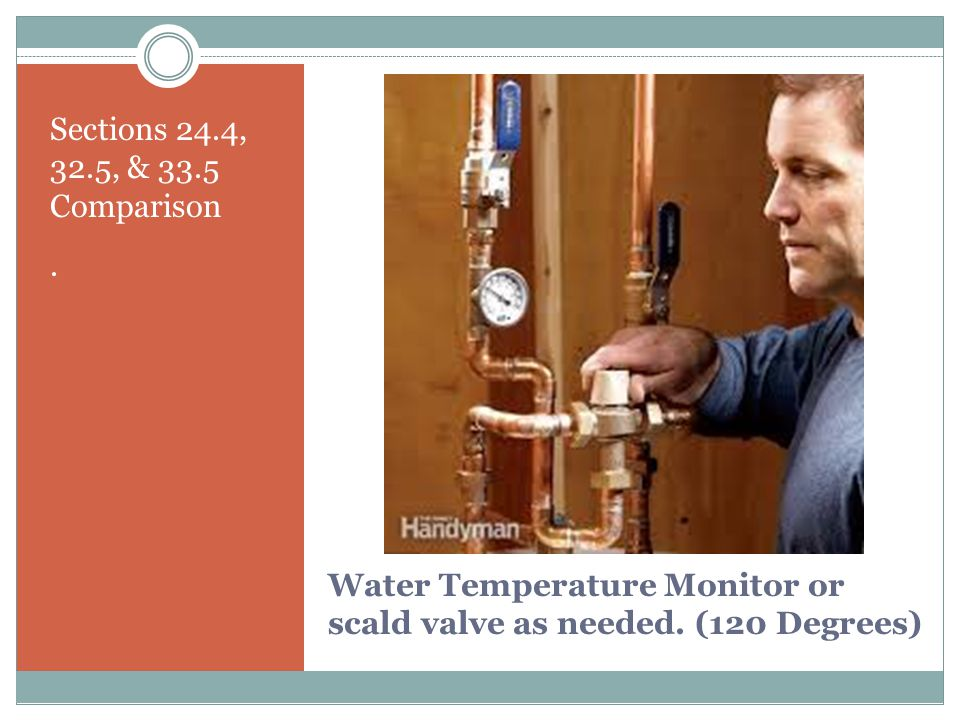 Water Temperature Monitor or scald valve as needed. (120 Degrees)