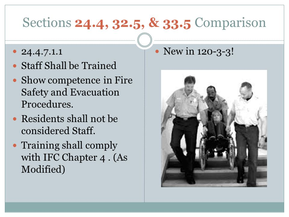 Sections 24.4, 32.5, & 33.5 Comparison 24.4.7.1.1. Staff Shall be Trained. Show competence in Fire Safety and Evacuation Procedures.