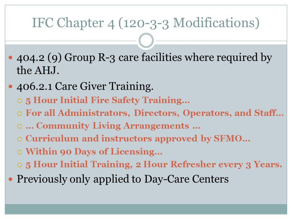 IFC Chapter 4 (120-3-3 Modifications)