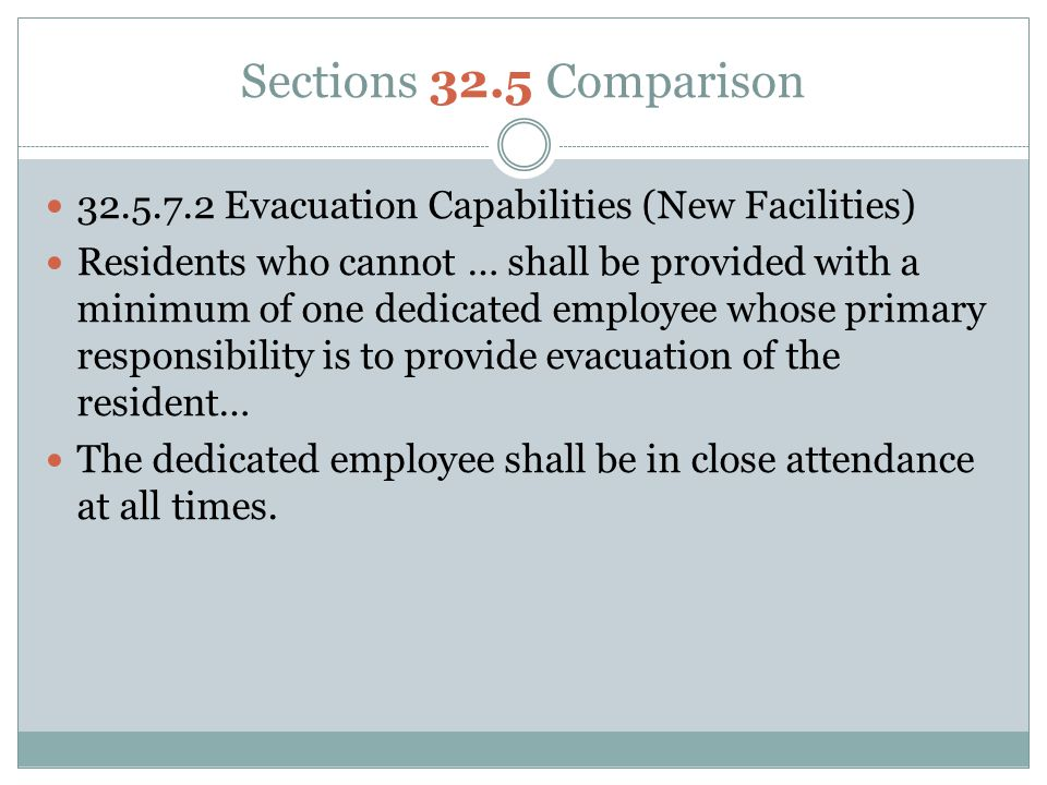 Sections 32.5 Comparison 32.5.7.2 Evacuation Capabilities (New Facilities)