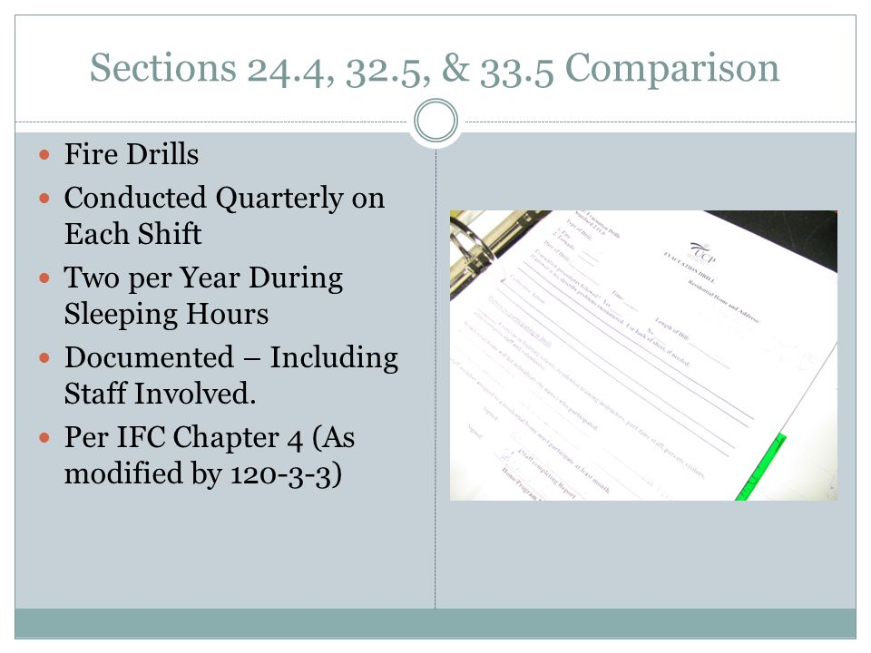 Sections 24.4, 32.5, & 33.5 Comparison Fire Drills