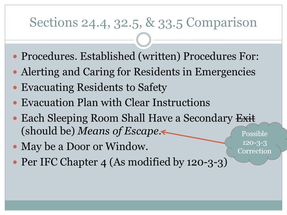 Sections 24.4, 32.5, & 33.5 Comparison Procedures. Established (written) Procedures For: Alerting and Caring for Residents in Emergencies.