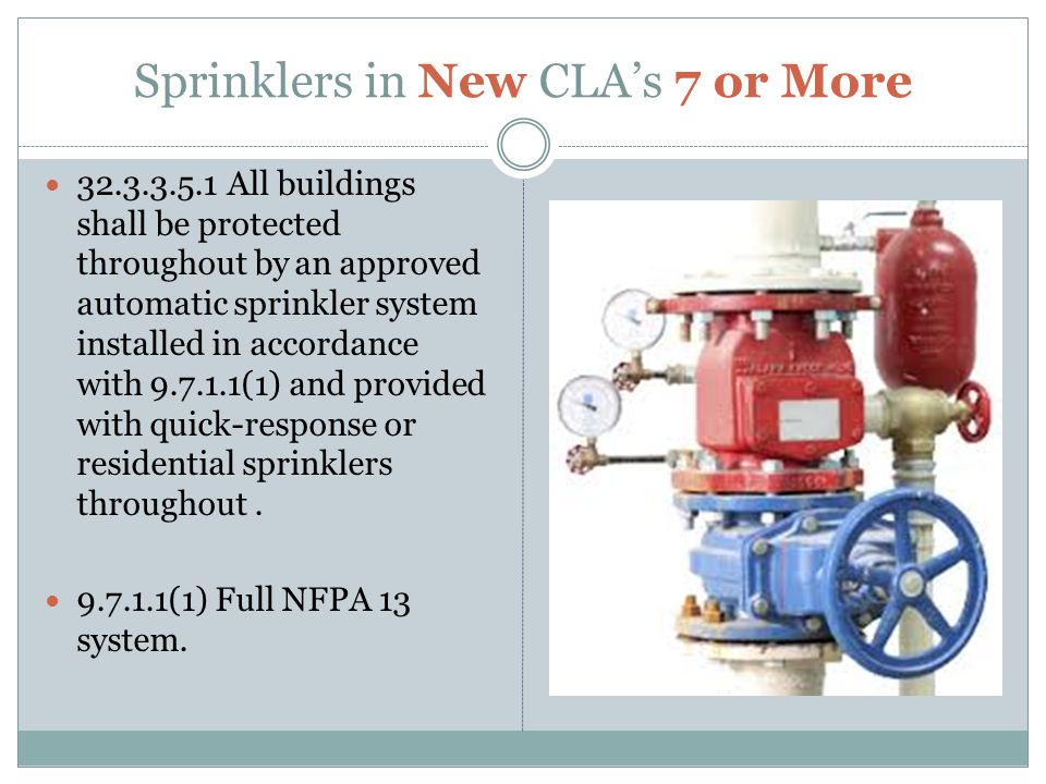 Sprinklers in New CLA's 7 or More