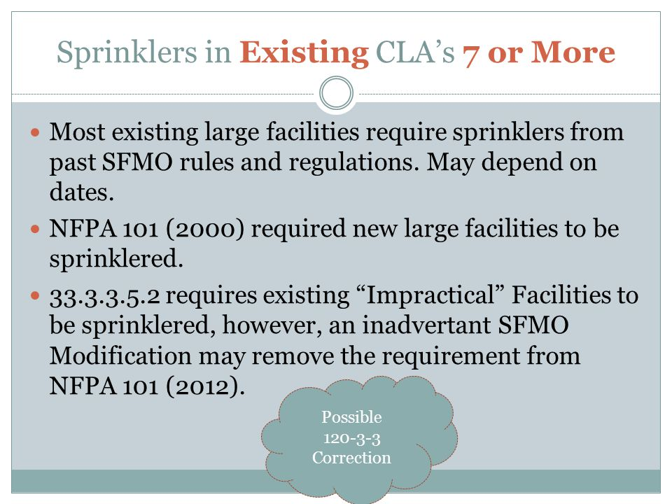 Sprinklers in Existing CLA's 7 or More