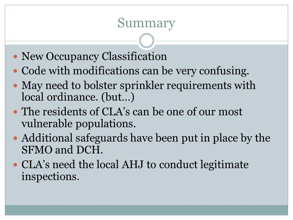 Summary New Occupancy Classification
