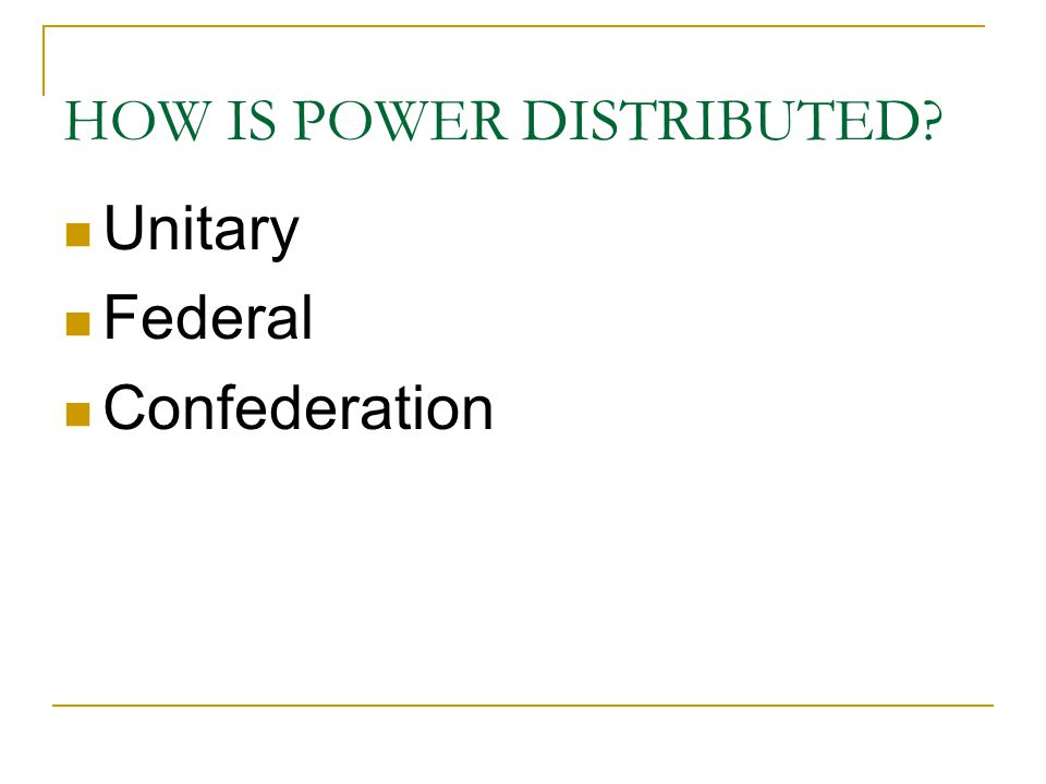 HOW IS POWER DISTRIBUTED