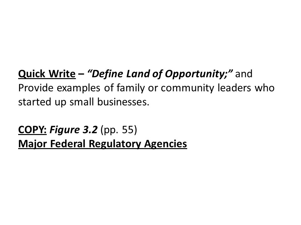 Quick Write – Define Land of Opportunity; and Provide examples of family or community leaders who started up small businesses.