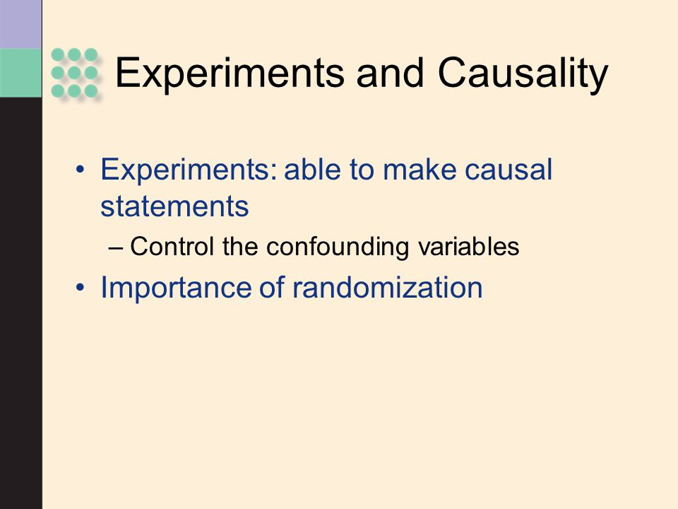 Experiments and Causality
