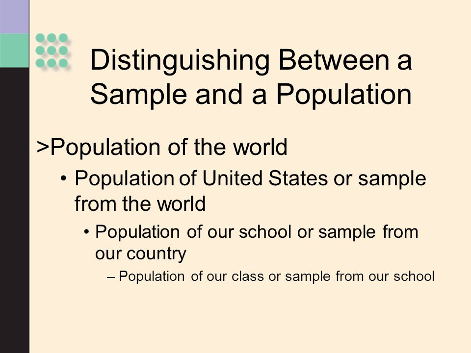 Distinguishing Between a Sample and a Population
