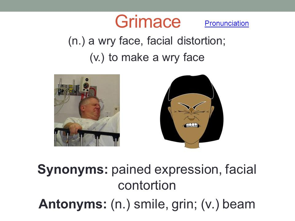 Grimace Synonyms: pained expression, facial contortion