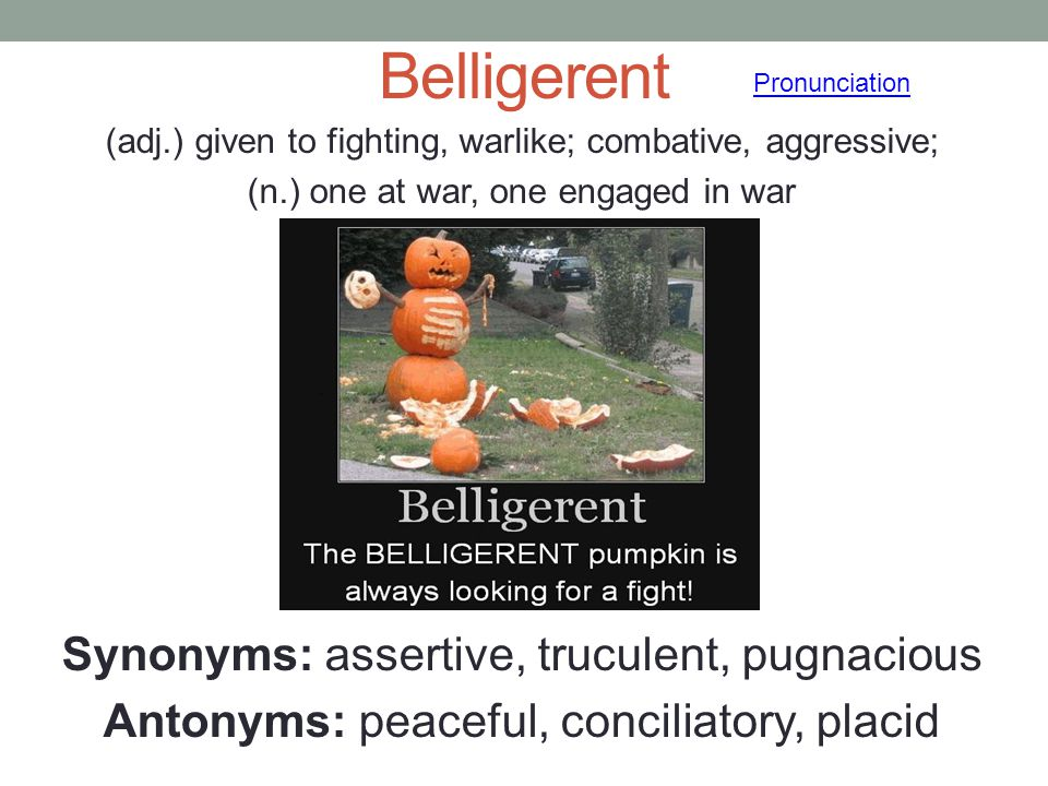 Belligerent Synonyms: assertive, truculent, pugnacious