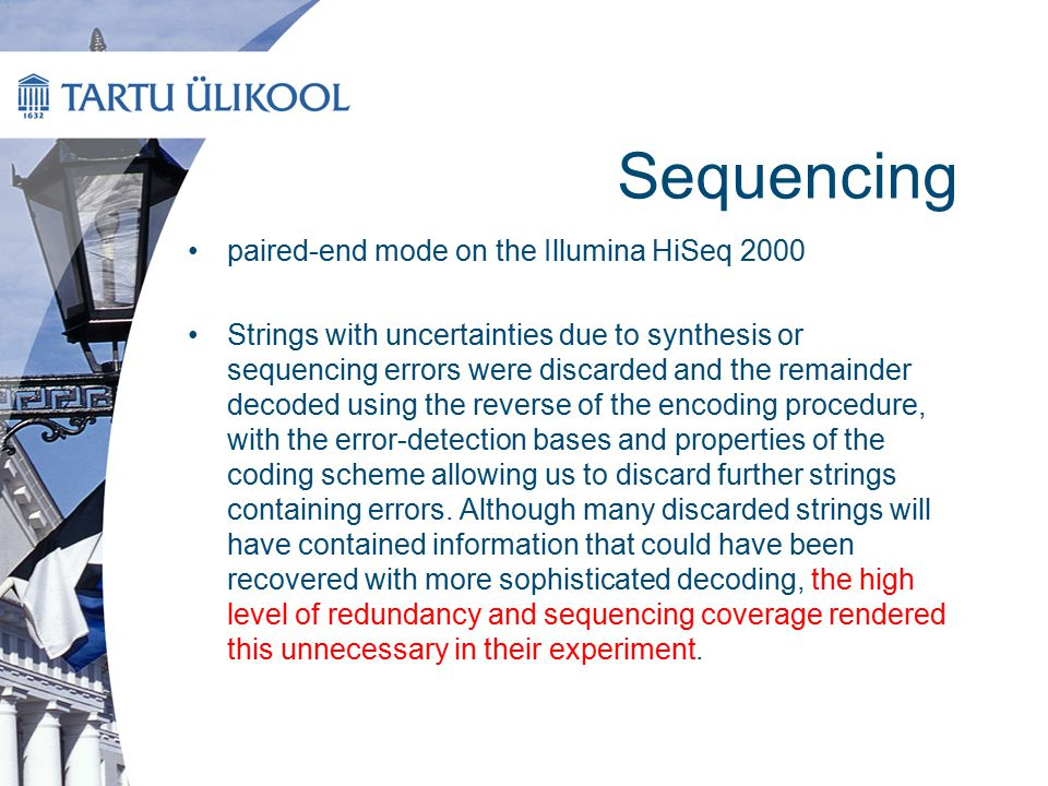 Sequencing paired-end mode on the Illumina HiSeq 2000