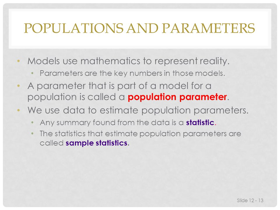Populations and Parameters
